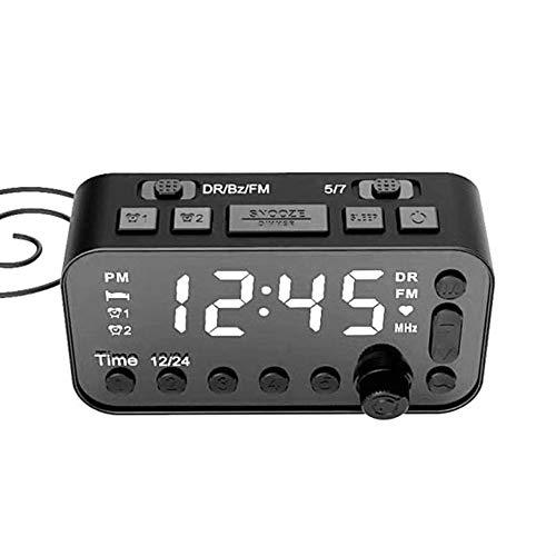 KKmoon digitale wekker, LED digitale wekker DAB FM wekker radio dubbele USB oplaadbare reiswekker instelbare alarmsterkte 3 traps slaaptimer voor kantoor, slaapkamer, reis