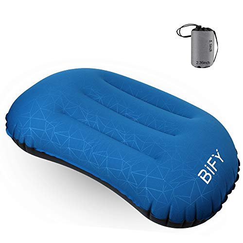 Aufblasbares Kissen BIFY Camping Kissen Kopfkissen Aufblasbar Reisekissen Sitzkissen Multifunktional für Outdoor Camping, Strand, Urlaubsreise, Büro, Reise-Meerblau