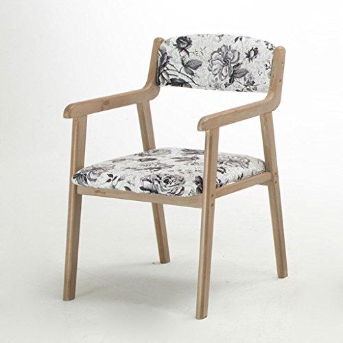 ZJ Estable Moderno Simple Vintage Dining Chair Silla de Madera Maciza Restaurante Apoyabrazos Ocasional Sillón Adulto Computer Desk Chair Único (Color : A)