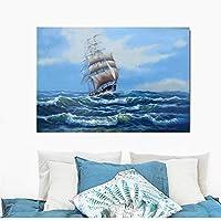 """現代の船の海の風景の壁の芸術の写真は、キャンバスのポスターに印刷され、リビングルームの装飾のために印刷されますCuadros 23.6"""" x31.4""""(60x80cm)フレームレス"""