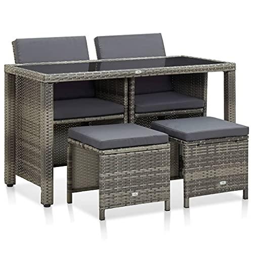 vidaXL Gartenmöbel 5-TLG. mit Auflagen Sitzgarnitur Gartengarnitur Gartenset Sitzgruppe Lounge...