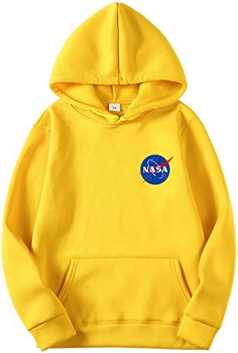 OLIPHEE Felpe con Cappuccio Tinta Unita con Logo di NASA Maglione Casuale per Ragazzi e Uomo A-Huang-1 3XL