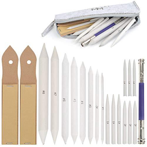 WOWOSS 21pcs Blendende Stümpfeund Tortillions Set Papierwischer Set mit 2 Stück Schleifpapier Bleistiftspitzer und 1 Bleistiftverlängerungswerkzeugzum Skizze Zeichnung