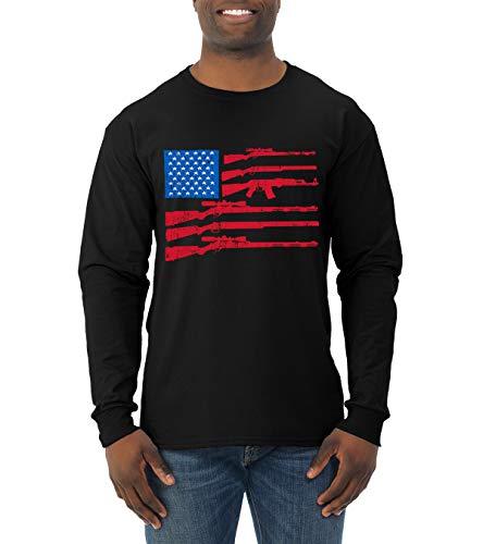 Wild Bobby American Flag USA Guns Military Pride   Mens Political Long Sleeve T-Shirt, Black, Small