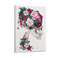 パーソナライズされた花のポスター頭蓋骨と牡丹ポスター装飾画キャンバス壁アートリビングルームポスター寝室寮絵画12×18インチ(30×45cm)