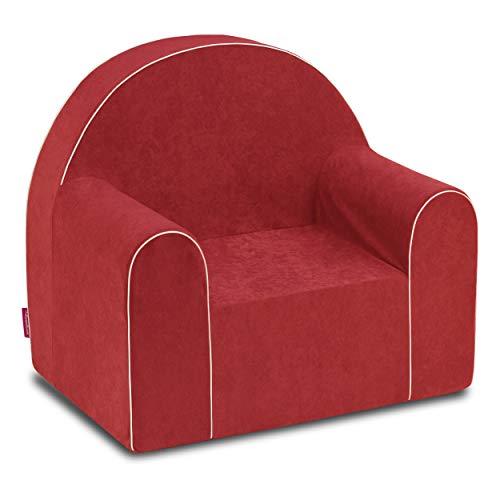 Midi Kid Silla Sillón Cómodo Bebé Asiento De Espuma Esponja Extraíble Lavable Cubierta Eco (Rojo)