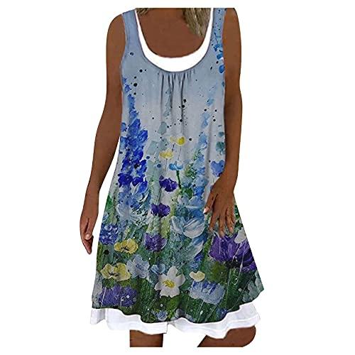Hailmkont Abito estivo da donna, estivo, casual, lungo al ginocchio, senza maniche, con stampa floreale, 2 pezzi, elegante e elegante, Azzurro 1, XXL