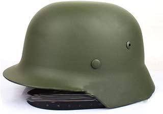 XYLUCKY WW2 German M35 Steel Helmet con Red y Gafas, Casco de Acero de Alta Resistencia de la Segunda Guerra Mundial con Forro de Cuero