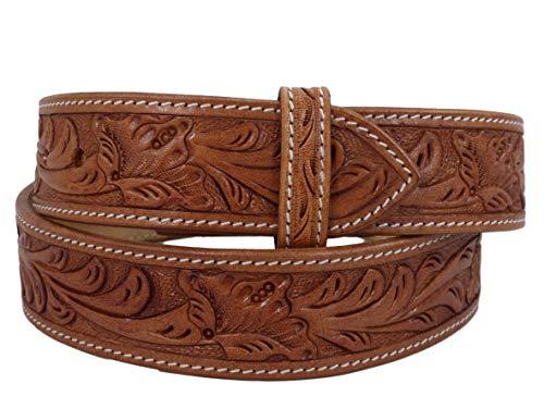 Thor Equine Western Cinturón Floral tooled sin hebilla Cowboy Vaquera Nature, natural, 101,6 cm