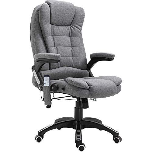 sedia ufficio ergonomica massaggiante Vinsetto Poltrona Massaggiante da Ufficio e Casa con 7 Punti di Massaggio e Funzione di Riscaldamento e Regolabile in Altezza