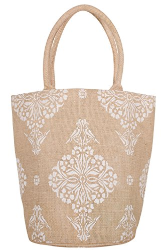 """KAF Home Jute Bucket Bag with White Indian Print, Durable Handle, Reinforced Bottom and Interior Zipper Pocket, Generous capacity, 12.5"""" tall x 17"""" wide x 7"""" deep"""