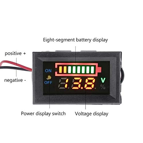 Auto-Änderung Messgerät Öldruckanzeige 12V Blei-Säure-Batterie-Ladezustandsanzeige Batterietester Lithium-Batterie-Kapazität Meter Dual-Display-LED-Tester Voltmeter Auto-Änderung Spur (Type : 12V)