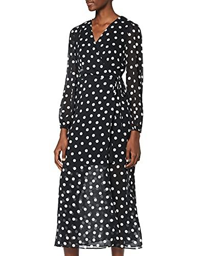 Marca Amazon - find. Vestido Cruzado Lunares Mujer, Negro (Black), 40, Label: M