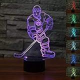 Nueva 3d Ice Hockey atleta LED luz de noche Touch mesa lámparas de escritorio 7cambio de color luces de ilusión con acrílico soporte de ABS Base Cargador USB para Navidad regalo