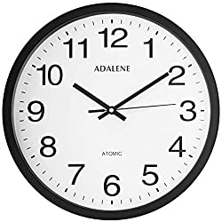 Adalene 12 Inch Large Atomic Wall Clock Analog Display - Vintage Black Wall Clock Atomic Movement - Battery Operated Modern Wall Clock for Office, School Classroom, Kitchen, Bedroom, Bathroom, Outdoor