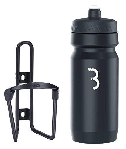 BBB Cycling Flaschenhalter Fahrrad Combo Fueltank Wasserflasche BBC-03C, Matt Schwarz / Schwarz Weiss, 550 ml