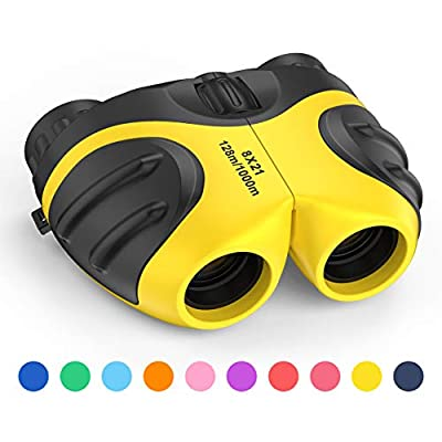 LET'S GO! Binoculars for Kids Outdoor Toys for 3-12 Years Old Kids, 8X21 High Resolution Compact Waterproof Bird Watching Foldable Binocular Perfect for Travel,Camping,Hiking,Birthday Xmas(Yellow)