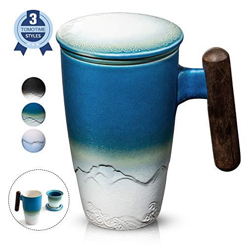SULIVES Keramik Teetasse mit Deckel und sieb, 400 ml, Teetrennbecher,Becher aus Porzellan für Losen Tee Oder Beutel dunkelblau