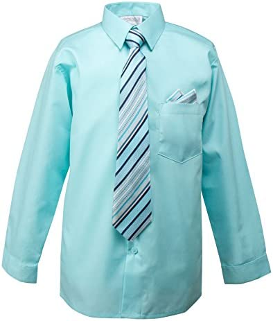 Spring Notion Boys Dress Shirt with Tie and Handkerchief Set 16 Aqua product image