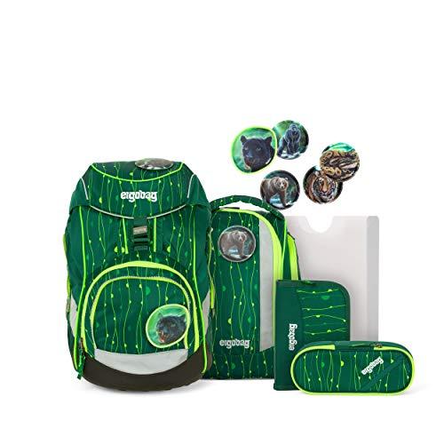 ergobag pack Set - ergonomischer Schulrucksack, Set 6-teilig - RambazamBär - Grün