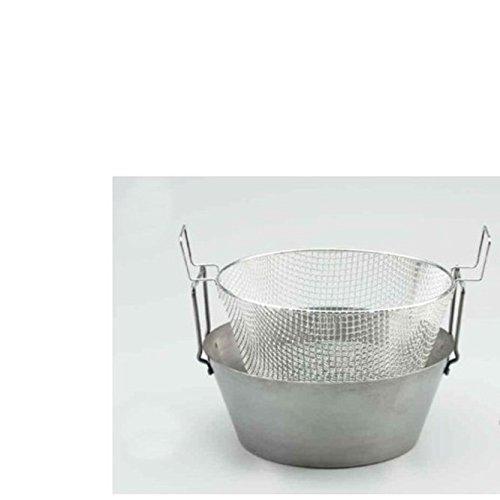 FRIGGITRICE in ferro spazzolato con CESTELLO in rete metallica cm. 36