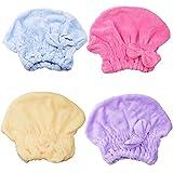 Sombrero Cabello Secas, INTVN Dry Hair Cap mujer linda seco gorro para el cabello ultra absorbente terciopelo Coral gorro de ducha, 4 Piezas