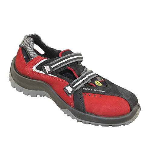 Steitz ESD 410 VIT Plus S1 SRC ESD Sicherheitsschuhe Industrieschuhe Arbeitsschuhe Sandale Rot, Größe:36 EU