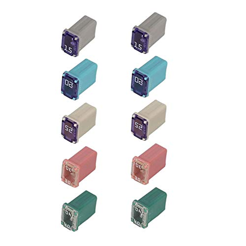 10 pcs Automotive MCASE Mini Box Shaped Cartridge Fuse Kit for Cars, Trucks, and SUVs