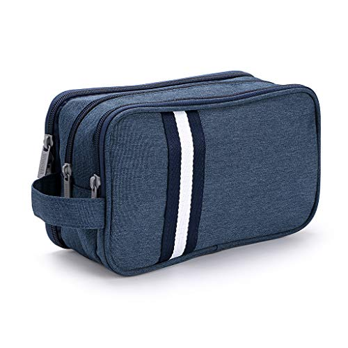 IGNPION Travel Toiletry Wash Bag Dry & Wet Separation Gym Shaving Organiser Bag with 3 Compartments (Dark Blue)