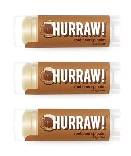 Hurraw! Root Beer Lip Balm, 3 Pack: Organic, Certified Vegan, Cruelty and Gluten Free. Non-GMO, 100% Natural Ingredients. Bee, Shea, Soy and Palm Free. Made in USA
