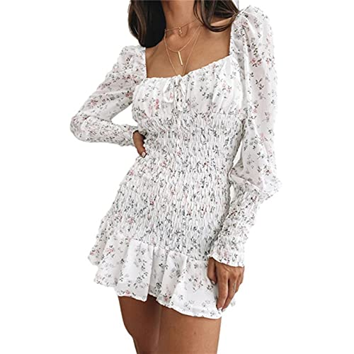 2021 Summer New Women Fashion Long Sleeve Floral Dress Stylish Square Collar Backless Slim Casual Mini Dress