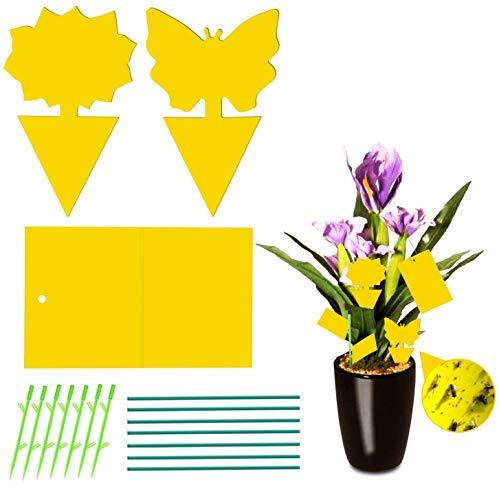Jane Choi 42 Stück Fliegenfalle Gelbstecker, Insektenfalle Leimfallen zum Schutz von Zierpflanzen, 2in1 Fliegenfallen - Gelbsticker, Gelbtafeln, Dekorative Leimfalle Gegen Trauermücken