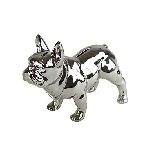n-f GmbH Spardose Hund Bully Chrom 19x10x15cm Sparbox Sparbüchse Urlaubskasse Sparschwein