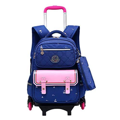 Kinder Trolley Rucksack Schul Rucksack - Kindergepäck Reisegepäck Rolling Schulranzen Kinderkoffer Tasche für Mädchen Jungen Lässig Stabiler Kindertrolley Reisekoffer