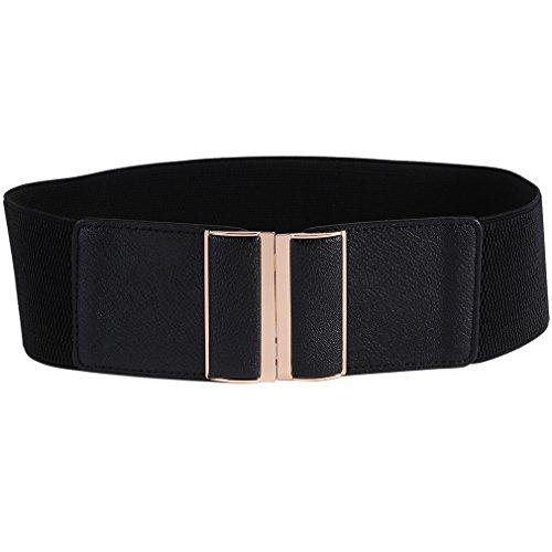 Beltox Womens 3' Wide Belt Elastic Stretch Cinch Waistband Lady Cummerband(26-43', Black Belt)