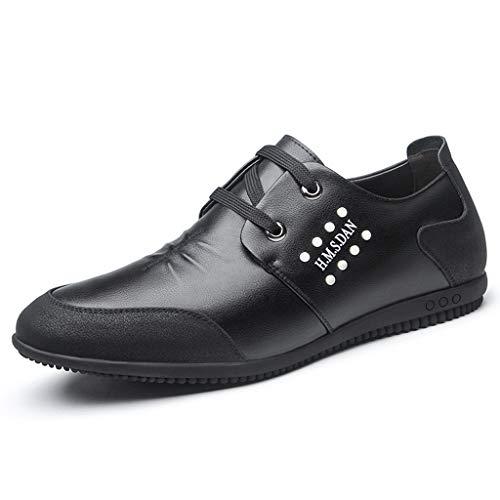 JXILY Holgazanes Zapatos de Cuero Ocasionales Hombres Zapatos Cómodos Ligera Conduce los Zapatos Mocasines Zapatos,Negro,42