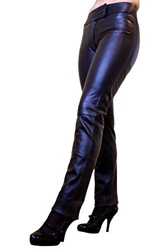 RICANO Low Cut Damen Lederhose, Lamm Nappa Echtleder in schwarz und rot (Schwarz, M)