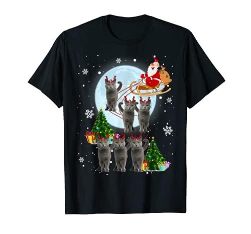 Ruso Azul Reno Navidad Ruso Azul Gato Amante Regalos Camiseta