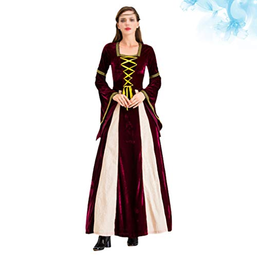 Amosfun Vestido Medieval Disfraces Renacentistas Vestido para Europa Cosplay Traje Victoriano Palacio Baile Elegante Vestido de Fiesta (Verde Talla M)