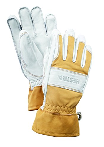 Hestra Mens and Womens Ski Gloves: Guide Leather Winter Gloves with Wool Lining, Natural Yellow/Off White, 8