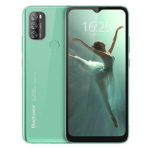 Blackview A70 (E) Smartphone ohne Vertrag Android 11, 6.517 Zoll HD mit 5.380mAh Batterie, 3GB RAM+32GB Speicher Octa-core, 13MP+5MP Kamera, Fingerabdruck Sensor, 4G Handy Dual SIM Grün