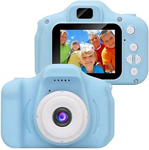 LLDKA Cámara para niños Digitales, Regalo de cumpleaños para niña, grabadora de cámara de Video Recargable para niños de 2 Pulgadas,Azul