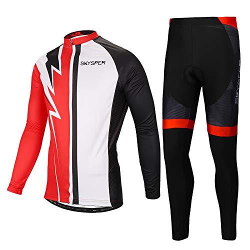 SKYSPER Abbigliamento Ciclismo Uomo, Completo Bici Maniche Lunghe con Pantaloni Ciclismo Traspirante per MTB Bici da Corsa da Strada