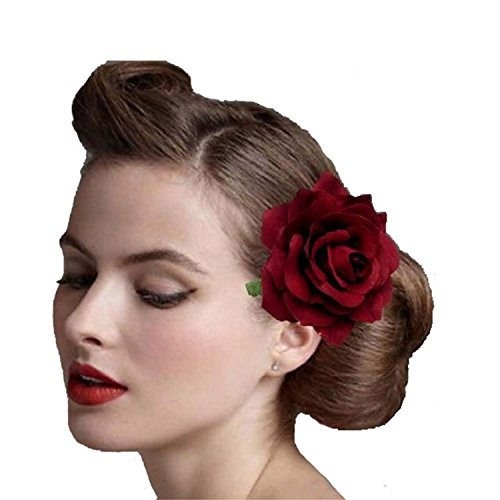 Ever Fairy Colorful Rose Flower Hair Clips for Women Girls Hair Accessories, small Beige, Dark Red