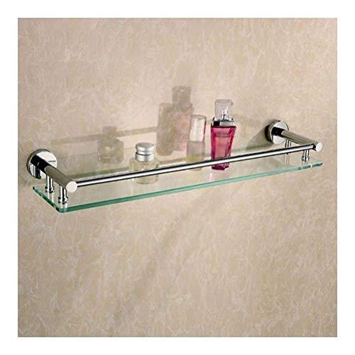 LYMUP Toallas de baño Flotante estantes de Vidrio con toallero de Acero Inoxidable Rectangular Ducha Cesta montado en la Pared (Color : No Towel Bar)