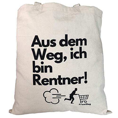 FremiBag Rentner Tasche   Stofftasche zum Einkaufen mit viel Kapazität für ihre wichtigen Dinge   Geschenk für Rentner und Firmenfeiern   Geschenk zur Pensionierung