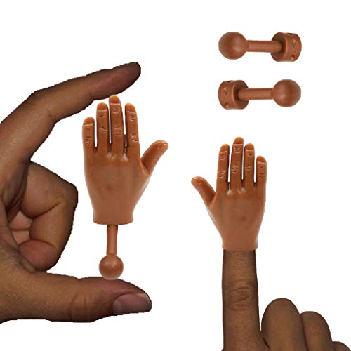 Daily Portable Dark Skin Tone Tiny Hands (High Five Mini Pack) Left & Right Hand with Holding Sticks Included