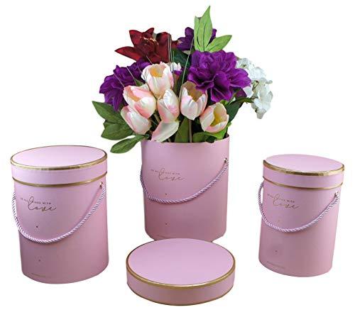 Bayli Juego de 3 Cajas Decorativas con Tapa, diseño de Ramo de Flores, Caja de Regalo...