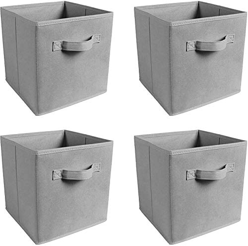 Foldable Storage Cubes, Set of 4/8, Assorted Foldable Storage Cubes Baskets Containers with Sewn handle for For Family, Bedroom, Toys, Wardrobe and Drawers (4 pcs Grey)
