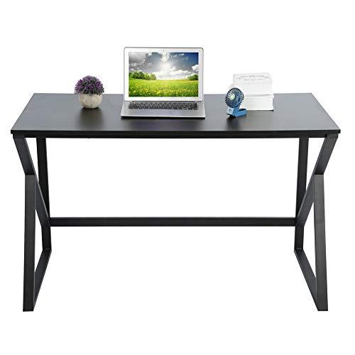 Pissente Escritorio moderno simple para ordenador, mesa de estudio de tablero DM, hasta 120 x 60 x 73 cm, para estudio, dormitorio, oficina, color negro